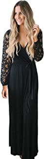 Womens Vintage Floral Lace Long Sleeve Wrap V Neck Party Long Maxi Dress