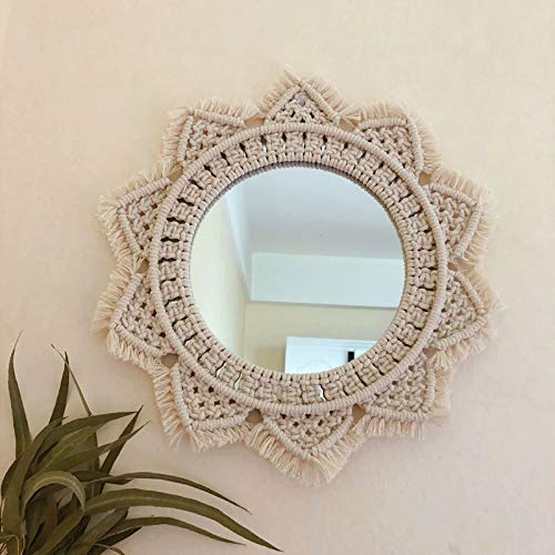 Okasi Wall Hanging Mirror Handmade Macrame Fringe Boho Decor Round Decoration for Living Room Bedroom Corridor Apartment Living Room Baby Home Decor (Wall Macrame Mirror)