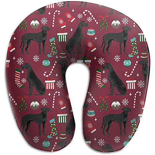 U-Shaped kussen, Great Dane zwarte kerst kousen snoepjes hond zachte comfortabele nek kussen voor Home Office Rest