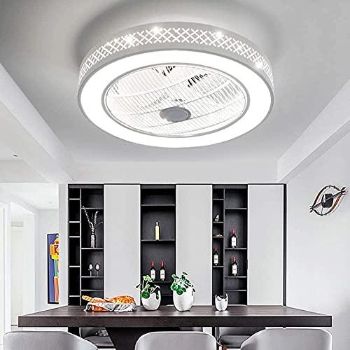 Ventilador de 22 pulgadas con iluminación, araña de ventilador LED, iluminación de techo, regulable con control remoto, 3 archivos, velocidad de viento ajustable, dormitorio moderno ( Color :