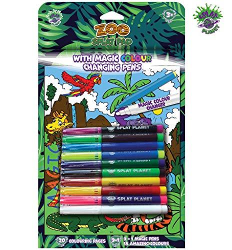 Splat Planet Libro para colorear de superhéroes con colores mágicos que cambian de color, 9 rotuladores + 1 bolígrafo mágico.