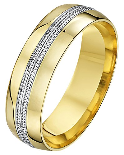 Theia His & Hers 14ct Yellow and White Gold Two-Tone 6mm Double Millgrain Wedding Ring - Size W