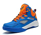 JMFCHI Kid's Basketball Shoes High-top Sports Shoes Sneakers Durable Lace-up Non-Slip Running Shoes Secure for Little Kids Big Kids and Boys Girls Blue/Orange