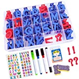 YBQZ Classroom Magnetic Letters Kit 234 Pcs with 2 Double-Side Magnet Boards & Magnetic Erasers, Stickers Set - Foam Alphabet Letters for Kids Spelling