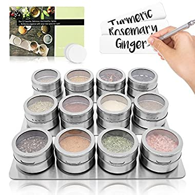 12 Magnetic Spice Tins/Containers + 3 Wall Mounted Racks - for Spices, Seasoning, Herbs, or Tea (Spices Not Included)