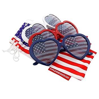 grinderPUNCH Women s Emma Stripes Heart American Flags Sunglasses 3 Pack