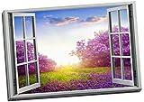 Stampa su tela con immagine di lavanda con effetto finestra in 3D, grande 70 x 50 cm