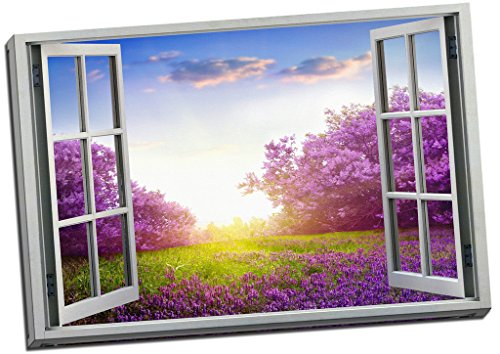 Calm Spring Lavender View 3D Window Effect Canvas Print Picture Wall Art Large 30x20 Inches