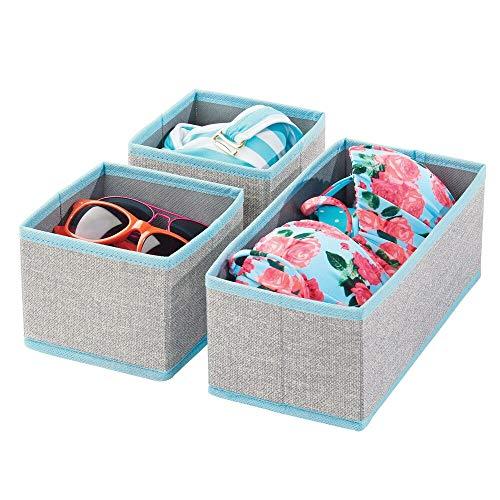 mDesign Juego de 3 cajas organizadoras – Cestas de tela transpirable para ropa interior, leggings, etc. – Versátiles organizadores de cajones para dormitorio o habitación infantil – gris/turquesa
