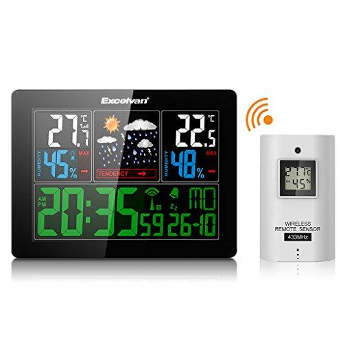 Excelvan Wetterstation AOK-5060C, Temperatur / Luftfeuchtigkeit Innen und Außen (5 Wettersymbole. Farbdisplay), schwarz
