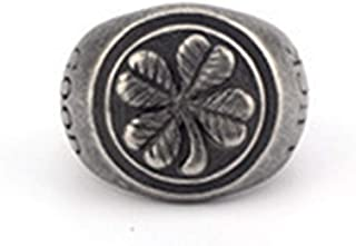 JAJAFOOK Mens Fashion Stainless Steel Good Luck Golden Four Leaf Clover Lucky Ring