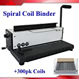 All Steel Metal Wire Coil 34Holes Punching Binding Machine + 300 sheets coils