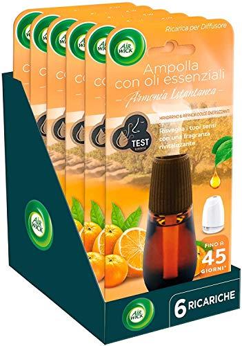 Airwick Ricariche per Diffusore di Oli Essenziali, fragranza Mandarino e Arancia Dolce energizzanti - Confezione da 6 Ricariche