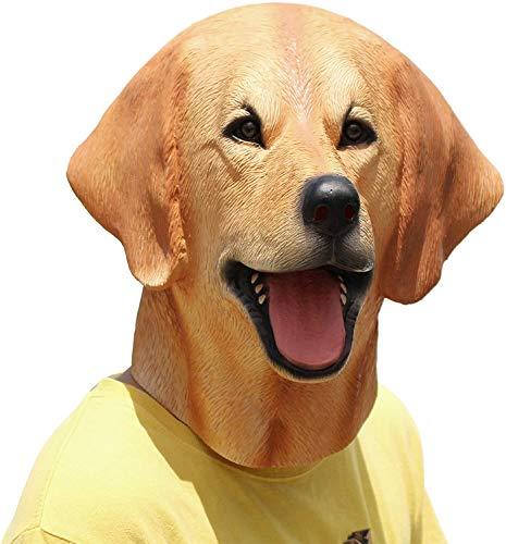 PartyHop - Labrador Mask - Halloween Latex Animal Dog Head Mask Brown
