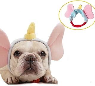 CheeseandU Pet Costume Cute Elephant Headband French Bulldog Elastic Hair Head Band Tie Head Wrap Hat for Small Medium Large Dogs Party Halloween Dressup Photo Prop