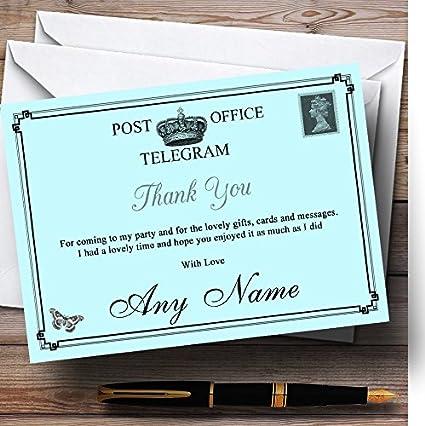 Vintage Telegram Elegant Aqua Personalized Party Thank You Cards
