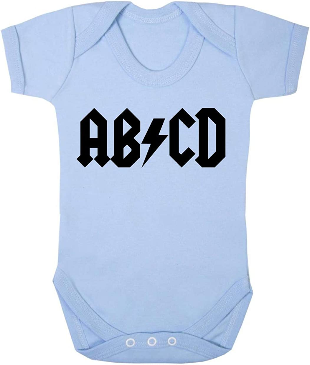ABCD ACDC baby bodysuit cute baby bodysuit rock baby clothes funny baby bodysuit baby shower gift Music Parody Baby Bodysuit