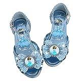YOSICIL Infantil Zapatos Princesa Elsa Reina de Nieve Velcro Sandalias con Tacón Lentejuelas Disfraz Princesa Zapatos de Fiesta Halloween Cumpleaños Azul EU22-36