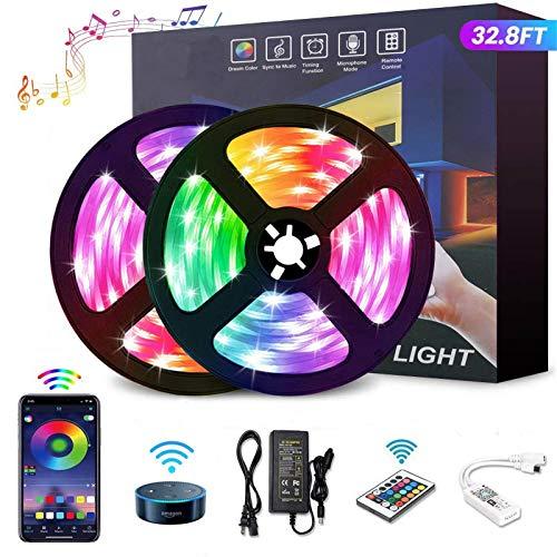 YOMYM Tira LED, Tira de luz controlada por teléfono Inteligente, Trabaja con Sistema Android y iOS, Alexa, Asistente de Google,...