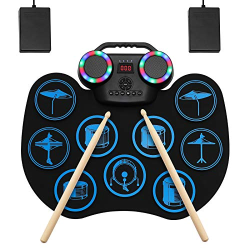 Electronic Drum Set, Portable Roll-Up Drum Practice Pad, 9 Pad Digital Drum Kit, Built-in Dual Stereo Speakers, Bluetooth Wireless Electric Drums