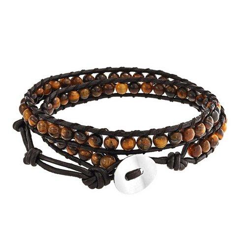 Bling Jewelry Ojo De Tigre Marrón Genuino Cuero Marrón Negro Envoltura Doble Pulsera para Mujer para Hombres