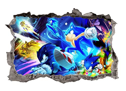 Adventure Sonic Wall Decals Art 3D Smashed Custom Hedgehog Kids Room Wall Decor Boys Bedroom Poster Mural Wallpaper Removable Vinyl Wall Stickers Gift (24'W x 16'H)