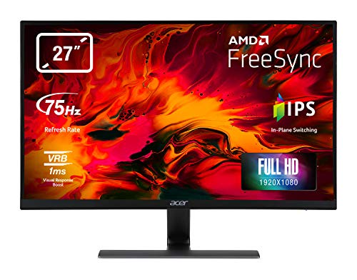 Acer Nitro RG270bmiix 27 Inch FHD Gaming Monitor, Black (IPS Panel, FreeSync, 1ms, ZeroFrame, HDMI, VGA)