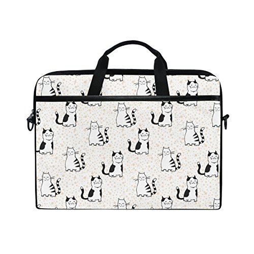 Laptop Case, Cartoon Cat Personalised Printed with 3 Compartment Shoulder Strap Handle Canvas Notebook Computer Bag Perfect for Boys Girls Women Men 13 13.3 14 15 inch