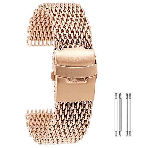 Correa de Reloj 18 mm 20 mm 22 mm 24 mm de acero inoxidable de malla venda de reloj de pulsera de Primavera barras de reemplazo de correas for Universal reloj de oro rosa azul ( Band Width : 22mm )