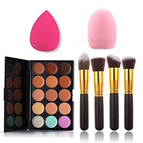 MUUZONING 15 couleurs Palette de maquillage correcteur avec 4 pcs pinceau de maquillage - Best Pro Ultra Pigmented Glitter Powder Natural Lasting Wate