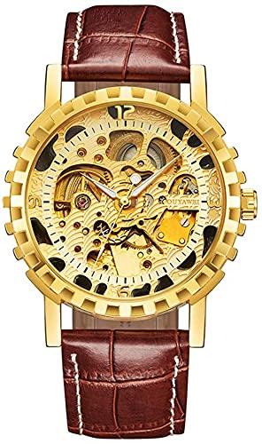Reloj de números Romanos de la Vendimia mecánica del Reloj, Reloj de Pulsera de Cuero a Prueba de Agua, Reloj de Pulsera automático Hecho a Mano. (Color : Gold)
