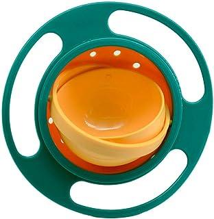 وعاء سحري دوار 360 درجة مقاوم لانسكاب الطعام مع غطاء، طريقة مبتكرة لتدريب الاطفال على تناول الطعام من سونغ كينغ، لون اخضر
