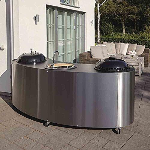 Lidab Grillgerät Triple Kitchen mit Gas und Kohlegrill, Waschbecke Umrandung Edelstahlblech, Arbeitsfläche pulverbesc, silber