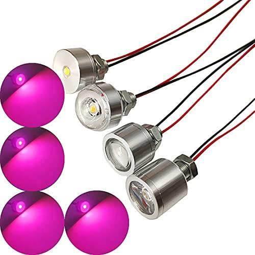 malyituk 4 cuentas LED para lámpara de luz LED DC12 V con cable para iluminación eléctrica de circuito paralelo para casco cosplay DIY tiras de luz superhéroe (morado)