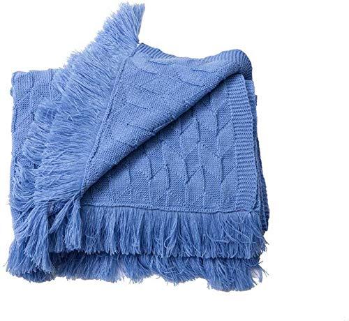 Manta Tejida 100% algodón Colcha del Norte de Europa Manta de Vida Lisa de Lana Retro Manta cálida Manta de Tiro (Azul Cielo, 80 x 200 cm)