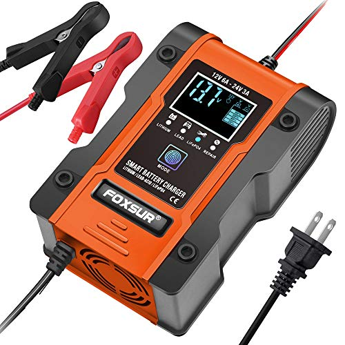 IEIK Automotive Battery Charger 12V 6A - 24V 3A Multi-function Smart Charger Maintainer for Car, Truck, Motorcycle, Lawn Mower, Boat, ATV, Lithium, LiFePO4, Lead-Acid, Deep Cycle Battery Charger