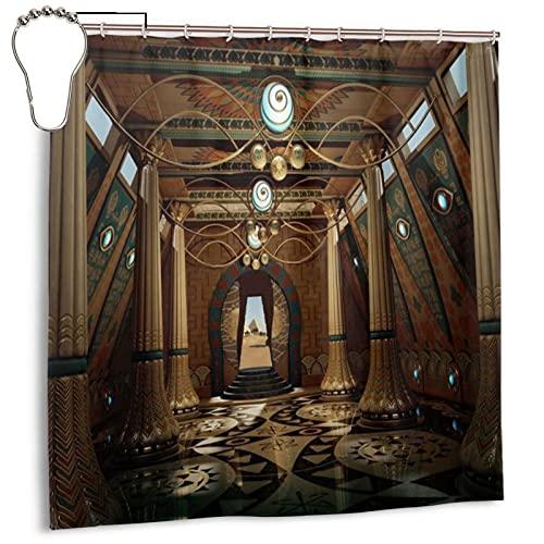 Cortina de ducha de 183 x 183 cm, dobladillo con peso, antimoho y resistente lavable con 12 ganchos, las paredes en el templo