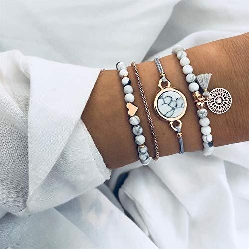 Zhaodong Belle 4 PCS/Set Bracelet de perles de charme bohémien Femmes Coeur Marbre Pierre Bangles Tassel Zhaodong