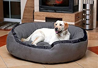 Hiputee Luxurious & Durable Polyester Filled Soft Dual Colour Dog/Cat Bed (Large, Grey)