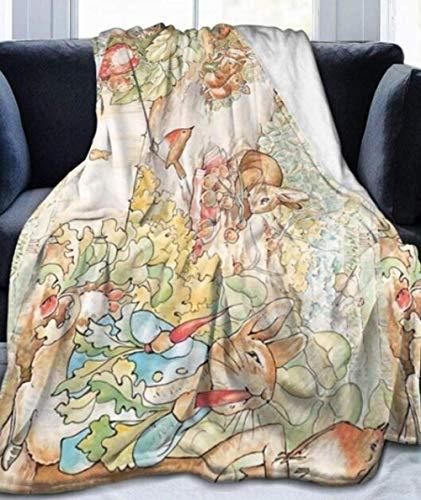 XZDPPTBLN Mantas de Franela Súper Suave de Lana Conejito Animal de Cuento de Hadas Pintado Mantas con Estampados Esponjosa y Cálida Mantas para la Cama y el Sofá 150cm x 200cm