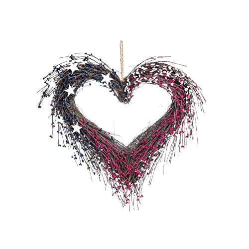 TII Americana Kranz in Herzform, Kunstbeeren mit weißen Sternen, 50,8 x 45,7 cm, Patriotischer Kranz