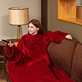 Fleece Wearable Blanket with Sleeves and Foot Pocket for Adult Women Men, Plush Throw with Adjustable Hook & Loop for Lounge Couch Reading Watching TV 79' x 67' Wine