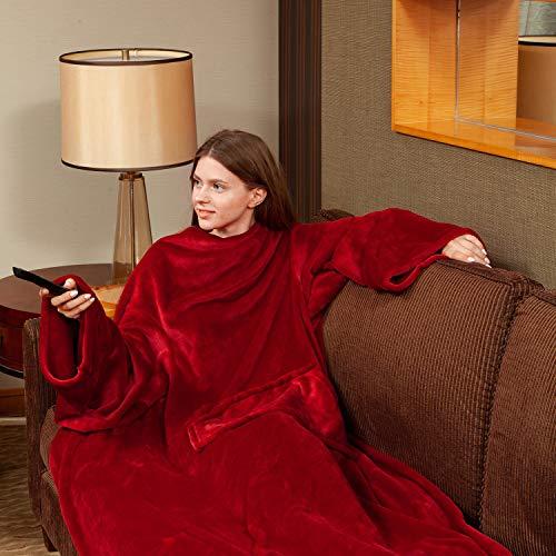 Viviland TV-Decke Kuscheldecke mit Ärmel und Fuß Tasche, Mikrofaser Decke Coral Fleece, Tagesdecke XL 170 x 200cm Wine