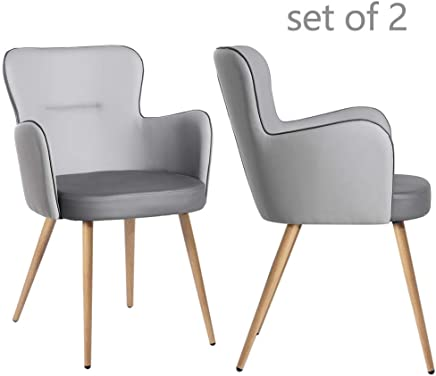 GreenForest PU Leather Dining Chair Set of 2 Mid-Century Modern Accent Chair Mid Back Upholstered Arm Chair for Living Room Dining Room with Armrests Metal Legs,  Gray