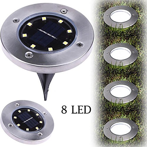 8 LED Waterproof Solar Power Ground Lamp Buried Light,Tuscom Outdoor Pathway Garden Decking Driveway Patio Lawn Yard Landscape Spike Lighting (Cool White)
