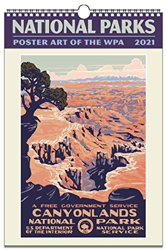 National Parks Poster Art of The WPA Oversize Wall Calendar 2021, 13.38
