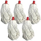 Lot de 5 têtes de serpillère en coton avec trou de fixation en plastique rouge pour manche de 24 mm.
