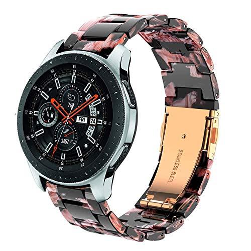 DEALELE Armbänd Kompatibel mit Galaxy Watch 46mm, 22mm Buntes Harz Resin Ersatz Armband für Samsung Gear S3 Frontier/Classic/Huawei Watch GT2 46mm Damen Herren, Schwarz/Rose