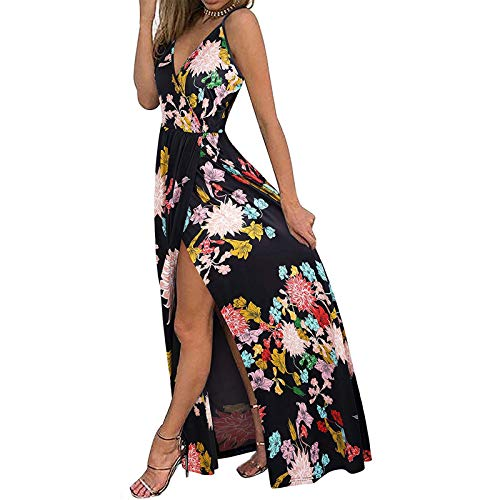 High Split Dress for Women,Sexy Spaghetti Straps Deep V Neck Sleeveless Halter Ruched Floral Print Swing Maxi Dress