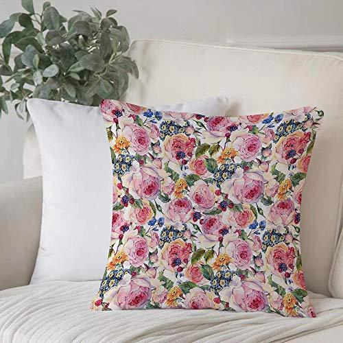 Poliestere morbido copricuscino decorativo,Shabby Chic, Country Design con fiori Florals Rose Orchids Buds,di federe per cuscini di per salotto divano camera da letto con cerniera invisibile,45x45cm